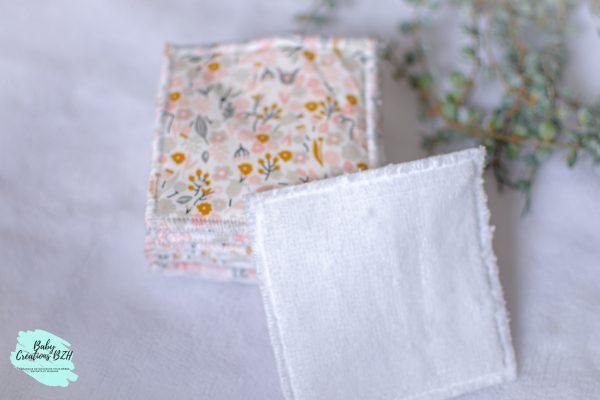 lingettes lavables réutilisables petites fleurs fait main