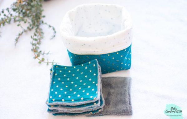 panier et lingettes lavables fait main zéro déchet créatrice